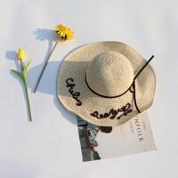 草帽女夏天出游海边沙滩帽韩版百搭防晒遮阳帽子大檐可折叠太阳帽 儿童款 可调节