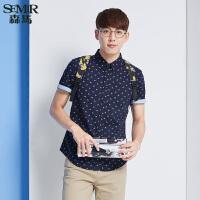 森马短袖衬衫 夏装 男士方领图案印花纯棉直筒衬衣韩版潮
