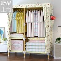 布衣柜简易组装衣柜经济牛津布实木防水实用衣柜出租房定制 米白色 105cm C款蔷薇 2个