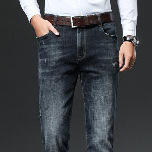 2件9折 3件8折 春夏薄款直筒宽松牛仔裤男士 伯克龙男装中高腰深裆商务休闲长裤子WN8029