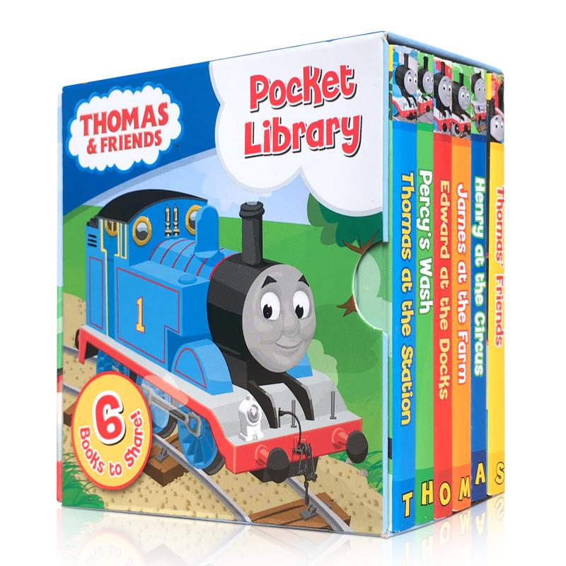 顺丰发货 英文原版 Thomas and Friends Pocket Library 托马斯与朋友小小图书馆 6册手掌纸板书 封底可玩拼图