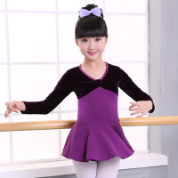 儿童舞蹈服女童丝绒练功服长袖芭蕾舞裙舞蹈服装