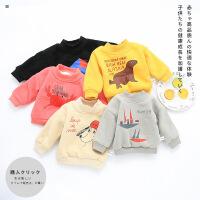宝宝加绒上衣套头婴儿加绒加厚保暖卫衣男0-1-3岁女童秋冬款韩版