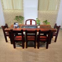 中式实木家具办公茶艺桌椅船木茶桌椅组合茶艺馆老船木茶桌