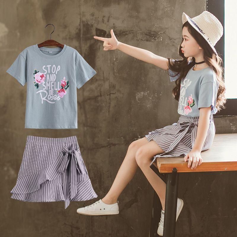 【到手价:67元】童装2020夏季新款女童STOP套装中大童短袖上衣+短裙两件套
