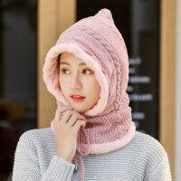 女士甜美可爱针织帽子 新款加厚保暖护耳一体潮围脖 韩版百搭毛线帽子女