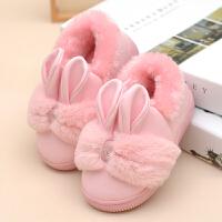 子棉拖鞋包跟男女童小孩居家居毛毛保暖防水皮拖鞋可爱冬季
