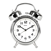 汉时(Hense)创意金属打铃闹钟时尚学生静音夜光时钟床头懒人闹表家用小台钟石英钟HA70 绿色4寸