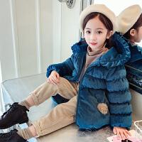 韩版时髦丽丝绒冬装加厚中大童棉袄外套潮女童装洋气