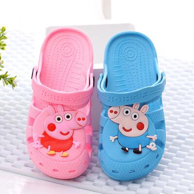 泰蜜熊卡通儿童小猪佩奇防滑耐磨一体成型夏季洞洞鞋沙滩凉鞋卡通儿童小猪佩奇防滑耐磨一体成型洞洞鞋
