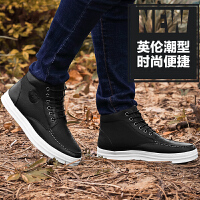 playьoy皮靴男韩版冬季加绒保暖高帮靴男商务英伦鞋子潮