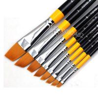 艺之笔972尼龙斜头斜峰画笔水彩水粉丙烯油画设计画笔 图案笔 8支套装 (1-8号)