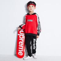 新款儿童街舞套装男童嘻哈秋季长袖潮宽松红卫衣hiphop演出服装冬