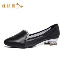 红蜻蜓女鞋春秋休闲圆头时尚深口通勤舒适低跟单鞋