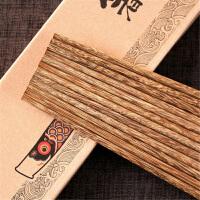 天然无漆无蜡鸡翅木原木筷子日式餐具鲤鱼旗礼盒10双装