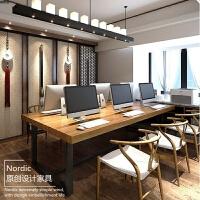 北欧实木商用台式电脑办公桌会议桌椅组合长桌职员桌屏风办公桌椅
