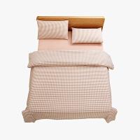 当当优品家纺 纯棉日式色织水洗棉床品 1.8米床 床笠四件套 格子薄粉