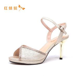 红蜻蜓鱼嘴细高跟时尚优雅透气女凉鞋