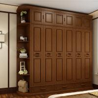 实木衣柜中式橡木储物柜现代简约四五六门板式转角主卧室大衣橱