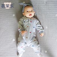 宝宝婴儿童连体衣1岁5个月春季款长袖新生儿薄款哈衣衣服