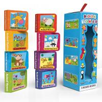 Book Tower 8本迷你书盒装 幼儿启蒙认知英文原版图画书 纸板书 亲子绘本读物