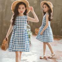 女童裙子夏季童装中大童格子背心裙儿童洋气连衣裙潮