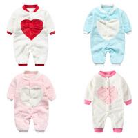 婴儿连体衣服冬季0岁3月2可爱宝宝加绒新生儿宝爬爬服外出