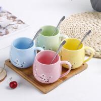 日式水杯陶瓷可爱带盖勺马克杯情侣一对杯子创意女生咖啡牛奶杯