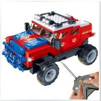 邦宝正品 益智拼装积木车 遥控车遥控赛车模型跑车 玩具车组装车