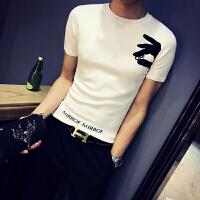 季新款男士短袖针织衫韩版修身毛衣青年商务休闲薄款线衣