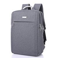 双肩包男商务背包电脑包女男士小米时尚潮流百搭帆布韩版 灰色 横款6808