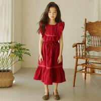 女童连衣裙夏款2018新款韩版中大童公主假两件短袖连衣半身长裙子