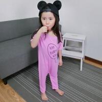儿童睡衣1夏季男女宝宝连体衣薄款3莫代尔5春秋款6短袖家居服2岁 粉红色-短袖 ICE