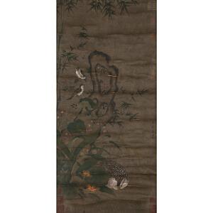 W1480 黄荃《竹雀》(多位名家收藏章)