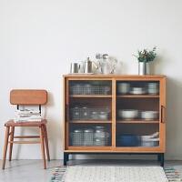 北欧实木餐边柜简约现代日式客厅储物柜收纳展示柜小户型玄关边柜 双门