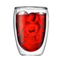 耐热咖啡杯果汁饮料杯子350ml 双层玻璃杯隔热透明蛋形茶杯创意水杯 杯子