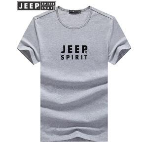 JEEP吉普短袖T恤男夏装修身字母印花打底衫户外运动休闲纯棉圆领半袖T恤男