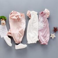 夏季新款宝宝短袖爬爬服连体衣荷叶边薄款哈衣