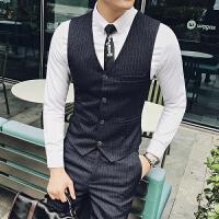 商务绅士型男条纹马甲免烫皱坎肩外套男士修身贴身条纹马甲礼服