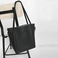 女士包包新款潮手提大包复古简约双插袋托特包tote通勤单肩包 黑色 现货