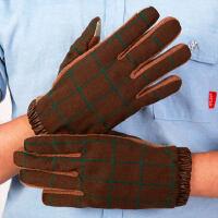 男士羊毛驾驶手套男开车冬季防滑加厚手机触摸屏羊绒手套
