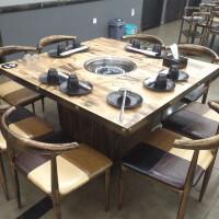 餐饮店餐桌饭店商用煤气灶火锅桌子电磁炉一体火锅店烧烤桌椅组合 8把牛角椅+箱式桌带下凹电磁炉 官方标配