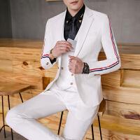商务男士西服套装青年韩版修身织带西装马甲西裤三件套夜场职业装