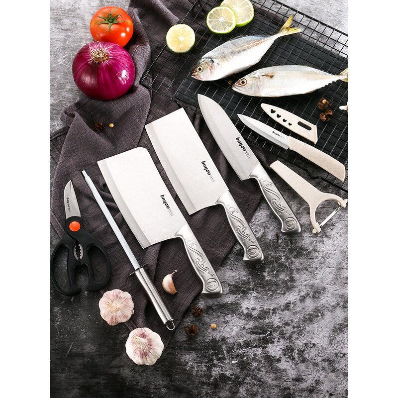 【支持礼品卡】刀具套装厨房全套厨具家用切菜刀菜板套装德国不锈钢套刀组合r8d 默认发;A款