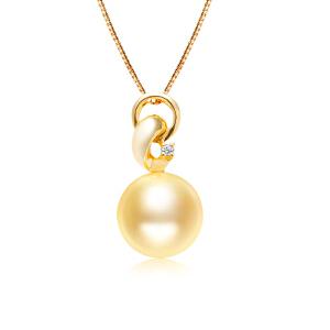 梦 梵雅 珍珠项链 正圆无瑕南洋金珠吊坠14K金钻石吊坠海水珍珠送925银项链带证书11-12mm