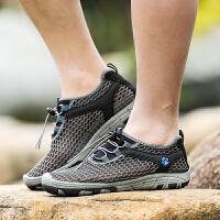 男士运动鞋防滑速干溯溪鞋女新款2018夏季网面透气户外登山涉水鞋