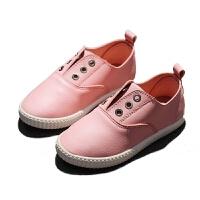 儿童布鞋女童休闲鞋春季男童单鞋PU皮面宝宝鞋白