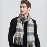羊毛围巾男士 加厚灰色格子围脖韩版百搭简约