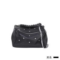 12新款黑色真皮链条单肩包女手拿斜挎包时尚潘多拉盒子包铆钉小包 黑色