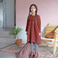 OP4206韩版女童春夏款连衣裙中大童裙时尚潮流童裙格子童裙